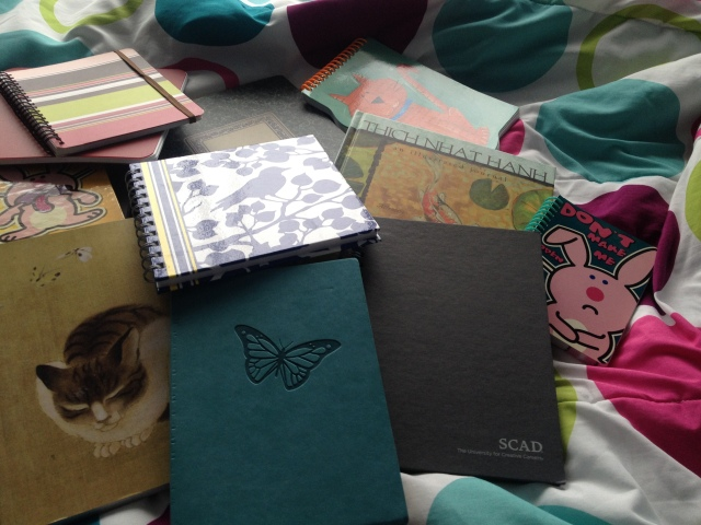 journaling - pile of notebooks